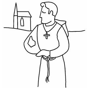 Monk Near Church coloring page