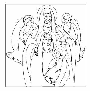saint anna and holiness coloring page