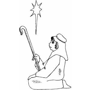 Shepherd And Star coloring page