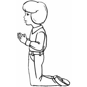 Praying Girl On Knees coloring page