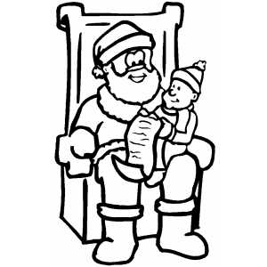 Elf Sitting On Santa Lap coloring page