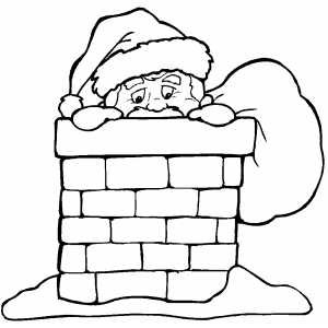 Santa Looking From Chimney coloring page
