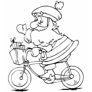 Santa On Bicycle coloring page