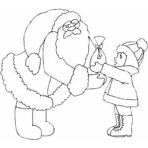 santa receiving gift from girl coloring page