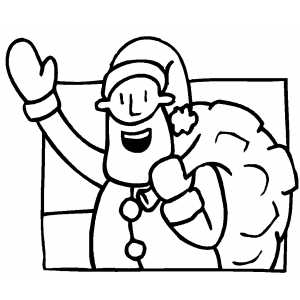 Santa Say Hello coloring page