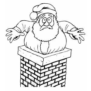 Santa Stuck In Chimney coloring page