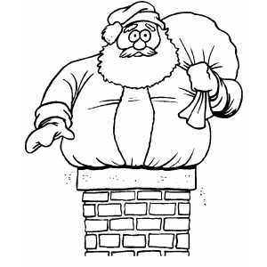 santa too big for chimney coloring page