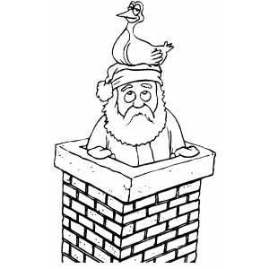 Santa With Duck On His Head coloring page