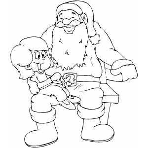 Santa With Kid coloring page