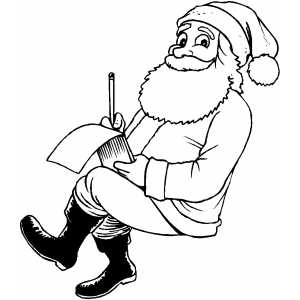 Santa Writing Note coloring page