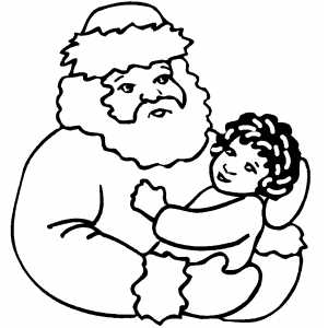 Small Child On Santa Lap coloring page