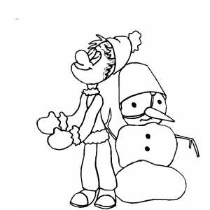 Boy And Snowman coloring page
