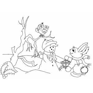 Bunny Get Lantern To Snowman coloring page