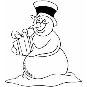 Snowman With Gift coloring page