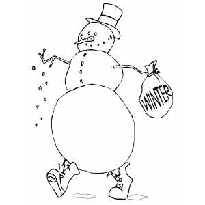 Snowman With Winter Sack coloring page