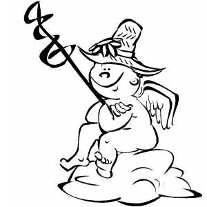 Waiting Cherub coloring page