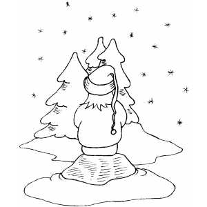 Watching Snow Fall coloring page