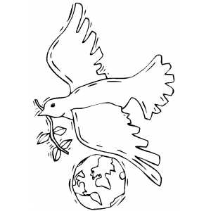 Dove With Earth coloring page