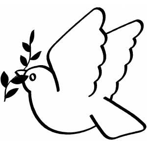 Flying Dove With Branch coloring page