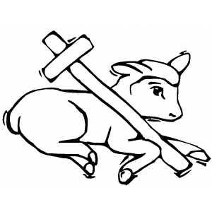 Lamb And Cross coloring page